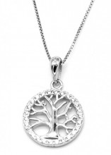 E-B18.3 SN103-090 Necklace 925 Sterling Silver Tree of Life with Zirconia's 14mm
