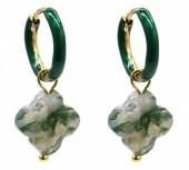 B-A6.5  E2142-025G S. Steel Earrings 1x2.5cm Green Stone