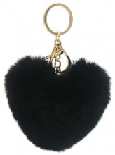 E-C16.1 KY414-003C Fluffy Bag-Keychain 10cm Heart Black