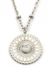 D-B21.1 N2020-007S S. Steel Necklace 15mm Charm with Marble Silver