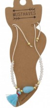 E-A2.3 ANK221-018 Anklet Beads with Mixed Colored Tassels White