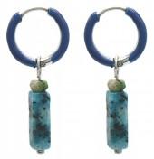 B-C6.4 E2142-027S S. Steel Earrings 1x2.5cm Blue Gneiss