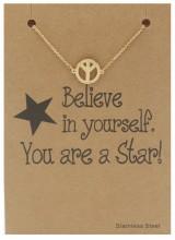 E-C2.4 B015-010 Stainless Steel Bracelet Peace Gold
