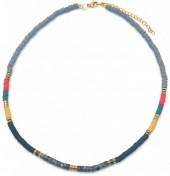 E-D19.5 N1941-001B Surf Necklace with Semi Precious Stones Black-Grey-Multi