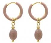 B-A4.2 E2142-032G S. Steel Earrings 1x2.5cm Purple Aventurine