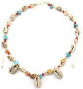 F-C20.3 N536-002 Choker Necklace Shells and Beads