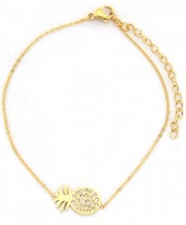C-C4.4  B016-013 Stainless Steel Bracelet Pineapple with Crystals Gold
