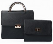 Y-F2.4 BAG419-003A PU Bag Set 2pcs  25x23x10cm Black