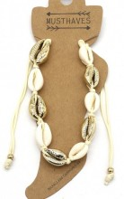 G-A3.2  ANK2001-007B Anklet with Shells Gold-Beige
