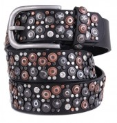 H-A14.1 FTG-060 PU with Leather Belt with Studs-Stars-Crystals 3.5x105cm Black