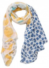 S-G3.1  S312-003 Scarf Dots 85x180cm Blue-Yellow
