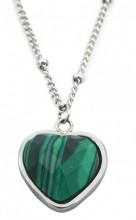 B-B6.1 N1934-009 Stainless Steel Necklace with 20mm Heart with Malachite Silver