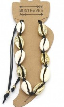G-B14.1  ANK2001-007A Anklet with Shells Gold-Black
