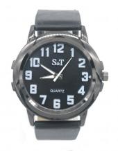 A-D9.1 W523-002A Quartz Watch with PU Strap 45mm Black