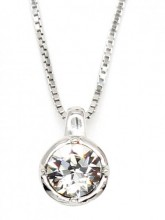 E-B5.2 SN103-089 Necklace 925 Sterling Silver Zirconia 6mm