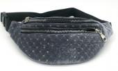 Z-A1.2  BAG524-001C Waist Bag Velvet with Sequins 30cm Grey