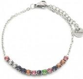 B-F15.1 B301-031S S. Steel Bracelet Multi Color Crystals Silver