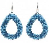 E-F3.9  E007-001D Facet Glass Beads 4.5x3.5cm Blue Multi