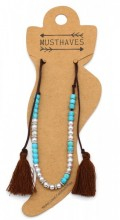 E-C22.2 ANK316-001 Anklet with Pearls-Stones-Tassels Brown