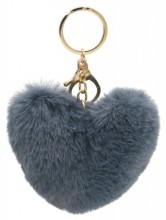 F-F17.1 KY414-003F Fluffy Bag-Keychain 10cm Heart Grey