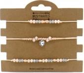 G-A18.1 B514-005 Bracelet Set Faceted Glass Beads 3pcs Grey-Pink