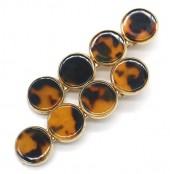 G-F4.1 H413-011C Hair Pin Set 2pcs 6.5x1cm Marble Brown
