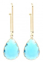 C-A2.1 E1631-021 Earrings with Stone 6x2cm Gold-Blue