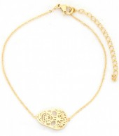 D-A20.4  B016-008 Stainless Steel Bracelet Decorated Skull Gold