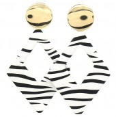 E-E8.1 E1631-013A Earrings Zebra 8x5cm Gold