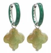 B-B23.2 E2142-025S S. Steel Earrings 1x2.5cm Green Stone