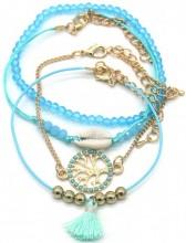 D-E4.3 B538-006 Bracelet Set 4pcs Tree of Life - Shell Blue