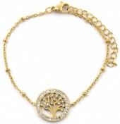 D-B15.1 B2020-001G S. Steel Bracelet 15mm Tree of Life Crystals Gold