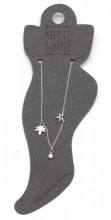 ANK104-024 Anklet 925 Sterling Silver with Leaves and Crystal