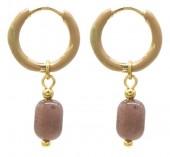 B-D17.4 E2142-030G S. Steel Earrings 1x2.5cm Purple Aventurine