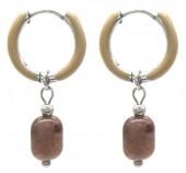 B-E17.4 E2142-030S S. Steel Earrings 1x2.5cm Purple Aventurine
