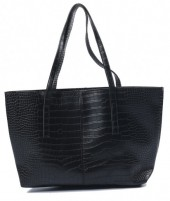 Y-A2.3 BAG417-004C PU Shopper Croco 44x30x10cm Black