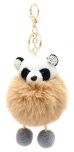 S-H8.4 KY2035-017C Keychain Fluffy Panda with Crystals 12x6cm Brown