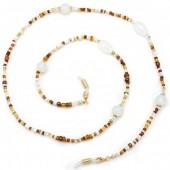 D-B5.3 GL544 Sunglass Chain Glass Beads Brown