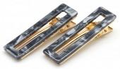 H-F18.1  H413-003C Hair Clip Set 2pcs Marble Grey