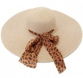 Y-A6.2 HAt210-001A Hat with Leopard Scarf 50cm Beige