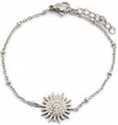 D-D6.2 B2020-003S S. Steel Bracelet 15mm Flower with Crystals Silver