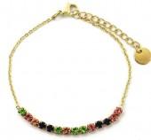 B-D16.3 B301-031G S. Steel Bracelet Multi Color Crystals Gold