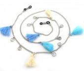 B-B17.3 GL291 Sunglass Chain with Coins and Tassels Beige-Blue