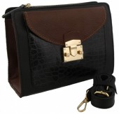 S-B5.4 BAGE-1176 Leather Bag with Snake Skin 22x17x9cm Black-Brown