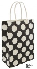 Q-P6.2 PK525-006C Paper Giftbag 21x15cm Black 12pcs