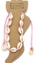 F-B19.2  ANK2001-001A Anklet with Shells Pink