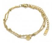 C-C22.2  B019-005G Layered S. Steel Bracelet Gold