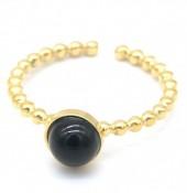 D-D17.3  R2142-011G S. Steel Ring Adjustable Black Agate