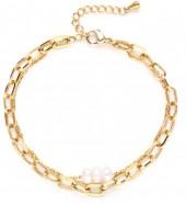 D-D21.2 B020-004G S. Steel Layered Bracelet Freshwater Pearls