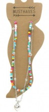 G-D2.1 ANK002A Layered Anklet with Beads and Heart Multi Color